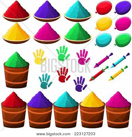 Happy Holi illustration with gulaal, powder pots, color balloons and pichkari with indian text and holi elements