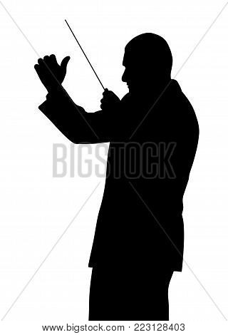 Music conductor. Isolated white background. EPS file available.