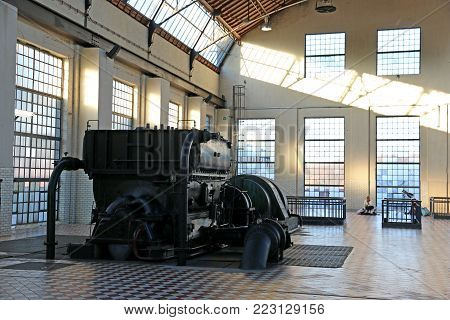 Vintage mining compressor in the c-mine, Belgium