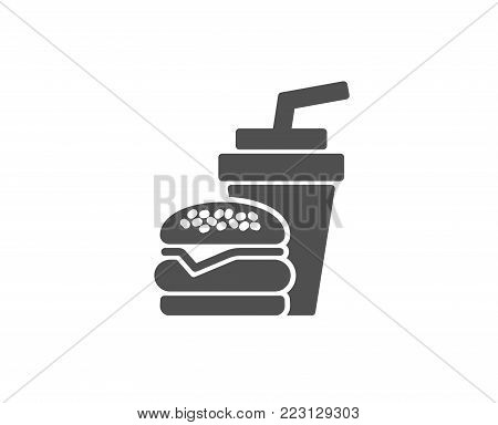 Hamburger with drink simple icon. Fast food restaurant sign. Hamburger or cheeseburger symbol. Quality design elements. Classic style. Vector