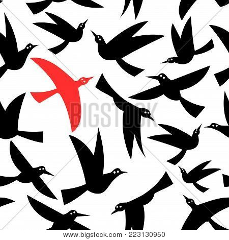 Seamless pattern of black flying birds on a white background
