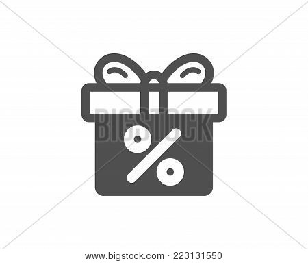 Gift box with Percentage simple icon. Present or Sale sign. Birthday Shopping symbol. Package in Gift Wrap. Quality design elements. Classic style. Vector