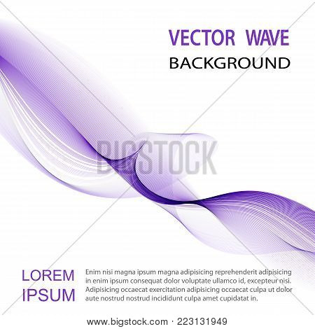 Blue wave on white background. Abstract vector background