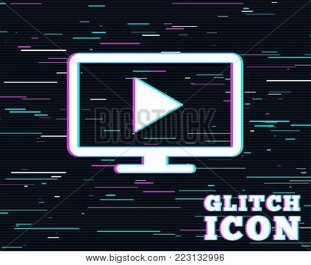 Glitch effect. Widescreen TV mode sign icon. Television set symbol. Background with colored lines. Vector