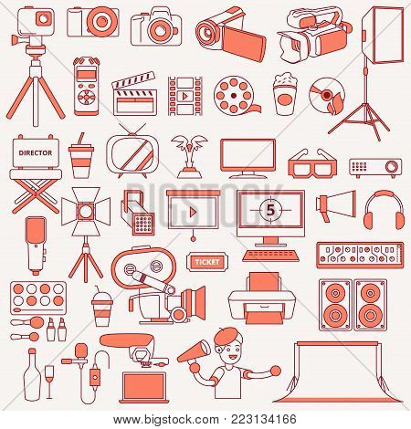 A vector illustration of Photography and Videography Icons