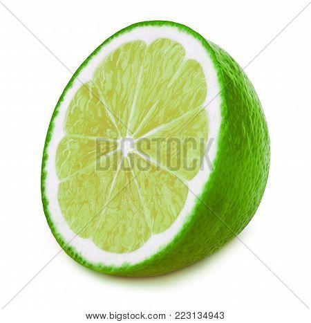 Perfectly retouched sliced half of lime fruit isolated on the white background with clipping path