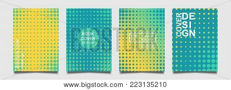 Minimalistic notebook cover design. Vector halftone point for flyer, brochure, banner, placard. Future colorful Poster template. Modern minimalist pattern.