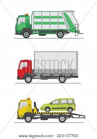 Garbage truck, truck and tow truck isolated on white background. Vector illustration.