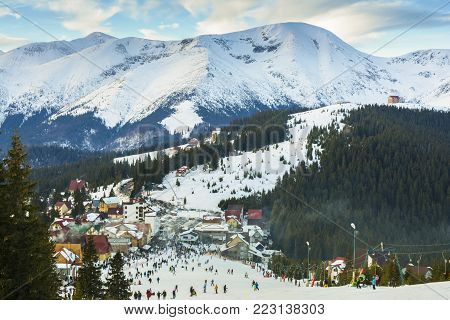RANCA, ROMANIA - DECEMBER 26 2017 - Ranca ski resort in the Parang mountains, Romania.