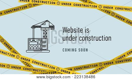 Website in under construction banner flat design. Web page building process concept. Modern thin line vector illustration.