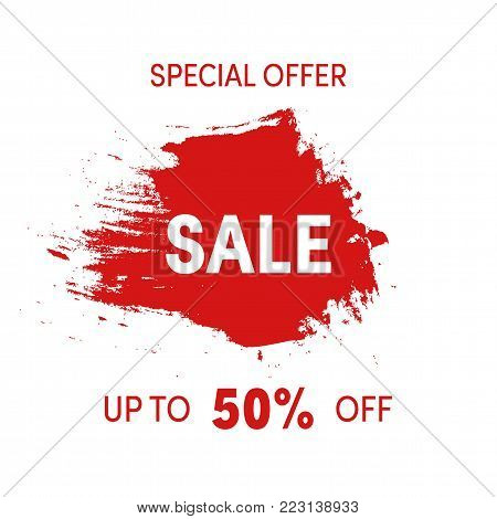 Special offer, sale sign grunge design. Shopping sticker red ink spot isolated. Up to 50 percent off label. Abstract vector illustration of discount badge