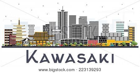 Kawasaki Japan City Skyline with Color Buildings Isolated on White Background. Business Travel and Tourism Concept with Historic Architecture. Kawasaki Cityscape with Landmarks.