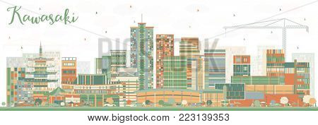 Kawasaki Japan City Skyline with Color Buildings. Business Travel and Tourism Concept with Historic Architecture. Kawasaki Cityscape with Landmarks.