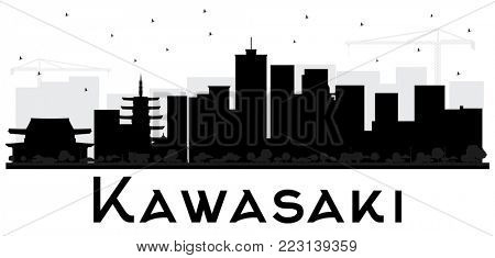 Kawasaki Japan City Skyline Black and White Silhouette. Simple Flat Concept for Tourism Presentation, Placard. Business Travel Concept. Kawasaki Cityscape with Landmarks.