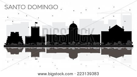 Santo Domingo Dominican Republic City skyline black and white silhouette with Reflections. Simple flat illustration for tourism presentation, placard or web site. Santo Domingo Cityscape