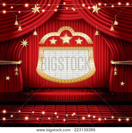 Red Stage Curtain with Seats and Spotlights. Theater, Opera or Cinema Scene. Light on a Floor.