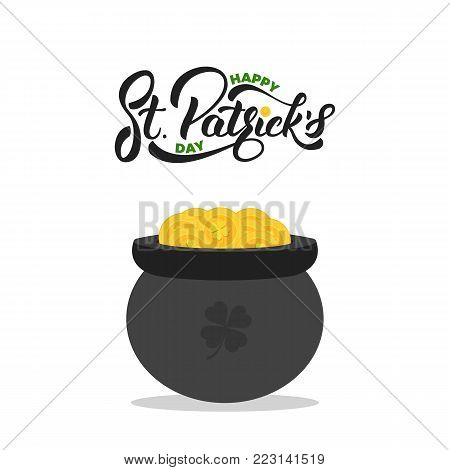 Saint Patrick's Day. Lettering St. Patrick's and pot of gold coins. St. Patricks Day card.