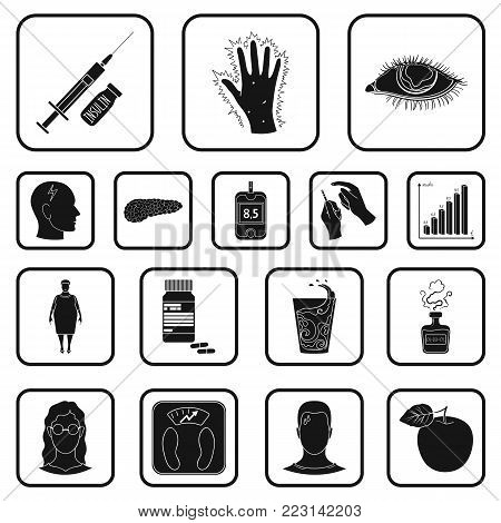 Diabetes black icons in set collection for design. Treatment of diabetes vector symbol stock  illustration.