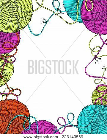 Vector yarn balls decorative frame with long thread and knot, blank empty in the middle for your text. Hand drawn illustration for knitting and crochet classes projects, brochure, poster or cover