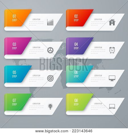 Vector illustration infographics 8 options. Data and information visualization. Dynamic infographics stylish geometric. element for design business invitations, gift cards, flyers and brochures