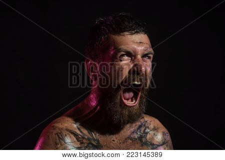 Bearded Hipster With Angry Face Shout On Black Background