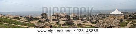 Rock formations in Gobustan National Park, Azerbaijan