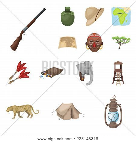 African Safari cartoon icons in set collection for design. Trophies and equipment for Safari vector symbol stock  illustration.