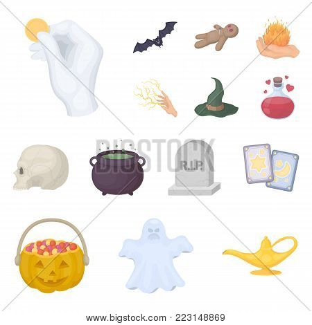 cartoon and white magic cartoon icons in set collection for design. Attributes and sorceress accessories vector symbol stock  illustration.