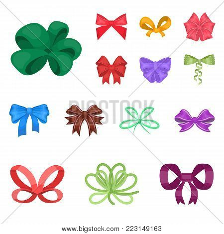Multicolored bows cartoon icons in set collection for design.Bow for decoration vector symbol stock  illustration.
