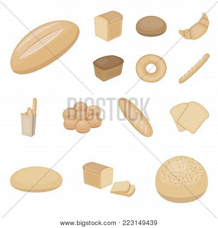 Types of bread cartoon icons in set collection for design. Bakery products vector symbol stock  illustration.