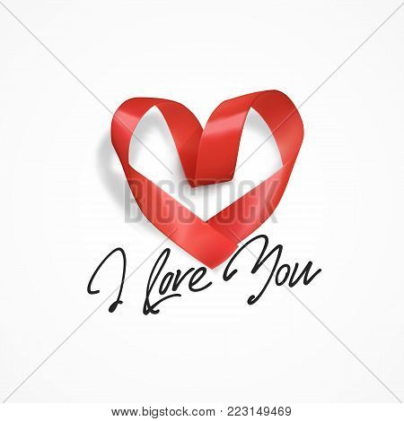 I Love You hand lettering, text handmade calligraphy. Heart made of red ribbon