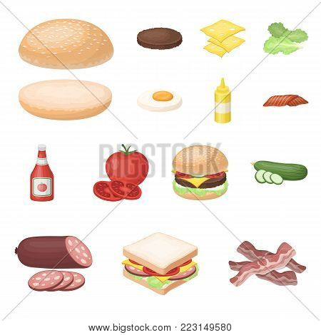 Burger and ingredients cartoon icons in set collection for design. Burger cooking vector symbol stock  illustration.