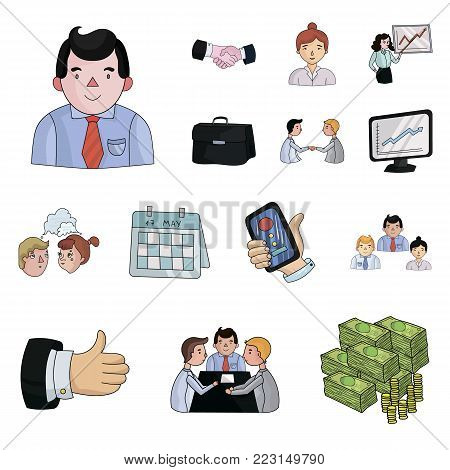 Business Conference And Negotiations cartoon icons in set collection for design.Business and training vector symbol stock  illustration.