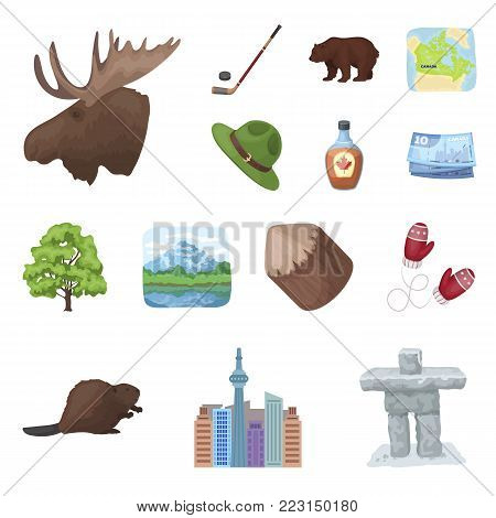 Country Canada cartoon icons in set collection for design. Canada and landmark vector symbol stock  illustration.