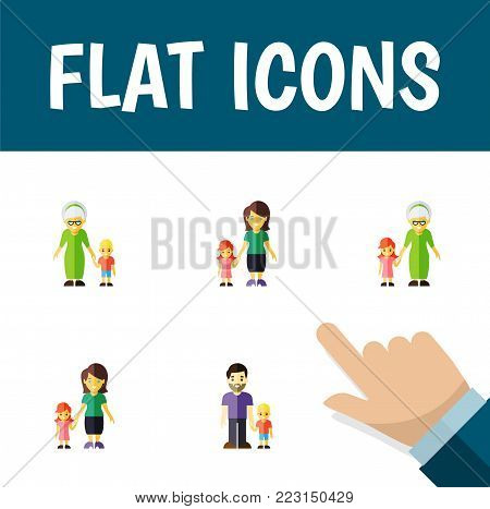 Icon flat relatives set of grandma, son, mother vector objects. Also includes son, grandson, family elements.