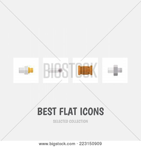 Icon flat sanitary set of industry, connector, pipe and other vector objects. Also includes connector, cast, pipe elements.