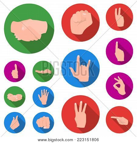 Hand gesture flat icons in set collection for design. Palm and finger vector symbol stock  illustration.