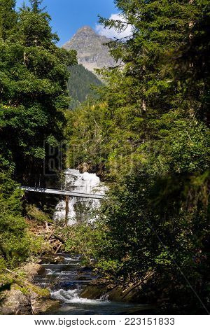 Footbridge on alpine trail through Hell gorge, Schladming, Austria