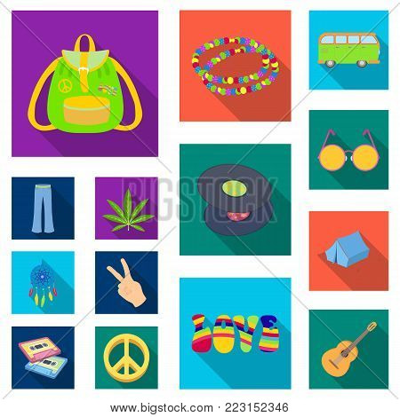Happy and attribute flat icons in set collection for design. Happy and accessories vector symbol stock  illustration.