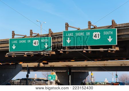 Lake Shore Drive green street sign on a Chicago highway