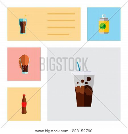 Icon flat beverage set of soda, bottle, cup and other vector objects. Also includes drink, carbonated, beverage elements.