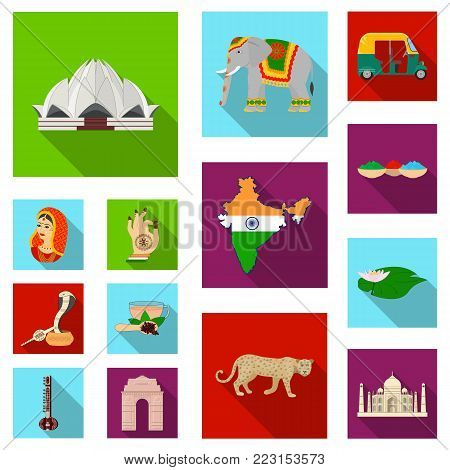 Country India flat icons in set collection for design.India and landmark vector symbol stock illustration.