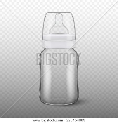 Vector realistic blank baby bottle icon with cap closeup isolated on transparency grid background. Sterile empty milk container design template, mockup for graphics.