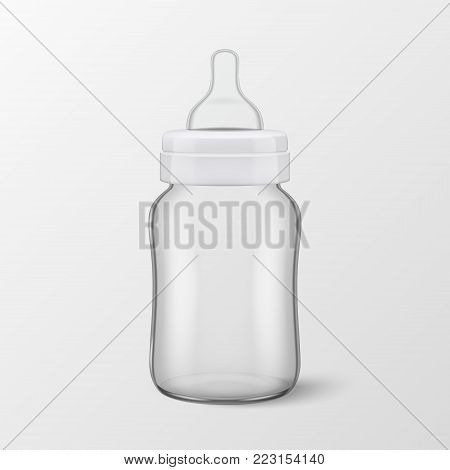 Vector realistic blank baby bottle icon closeup isolated on transparency grid background. Sterile empty milk container design template, mockup for graphics.