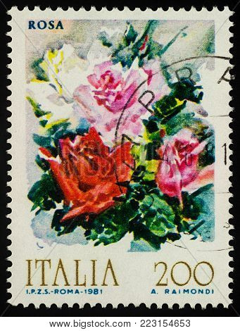 Moscow, Russia - January 222, 2018: A stamp printed in Italy shows Bouquet of roses, watercolor, series
