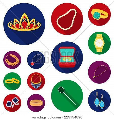 Jewelry and accessories flat icons in set collection for design.Decoration vector symbol stock  illustration.