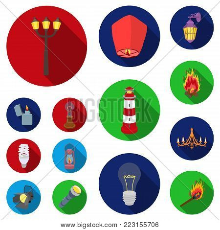 Light source flat icons in set collection for design. Light and equipment vector symbol stock  illustration.
