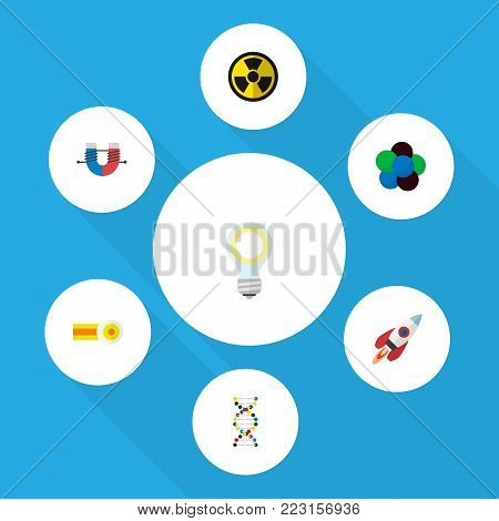 Icon flat study set of bulb, rocket, nuclear and other  objects. Also includes molecule, nuclear, chemical elements.