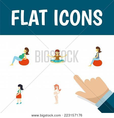 Icon flat pregnant set of pregnant woman, fitness, yoga and other  objects. Also includes pregnant, woman, fitness elements.