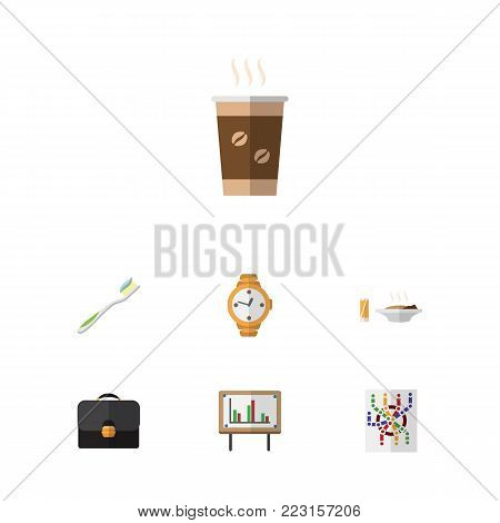 Icon flat life set of router, timer, dental and other  objects. Also includes suitcase, food, cappuccino elements.